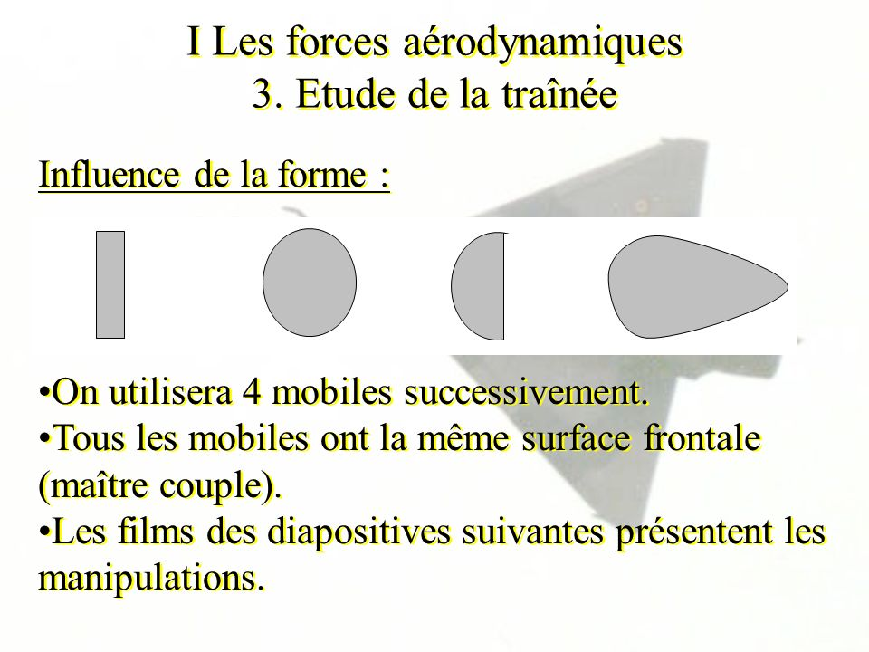 I Les forces aérodynamiques 3. Etude de la traînée Influence de la forme : On utilisera 4 mobiles successivement. Tous les mobiles ont la même surface