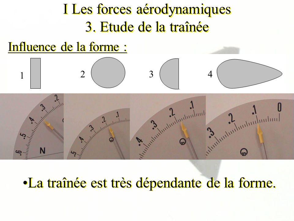I Les forces aérodynamiques 3. Etude de la traînée Influence de la forme : La traînée est très dépendante de la forme. 2 1 34