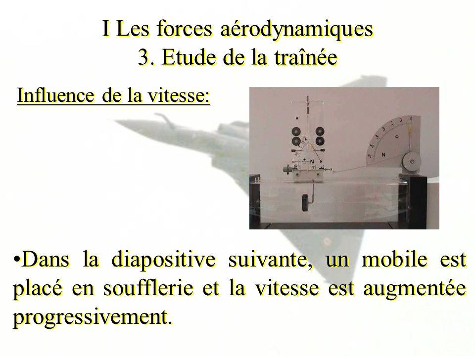 I Les forces aérodynamiques 3. Etude de la traînée Influence de la vitesse: Dans la diapositive suivante, un mobile est placé en soufflerie et la vite