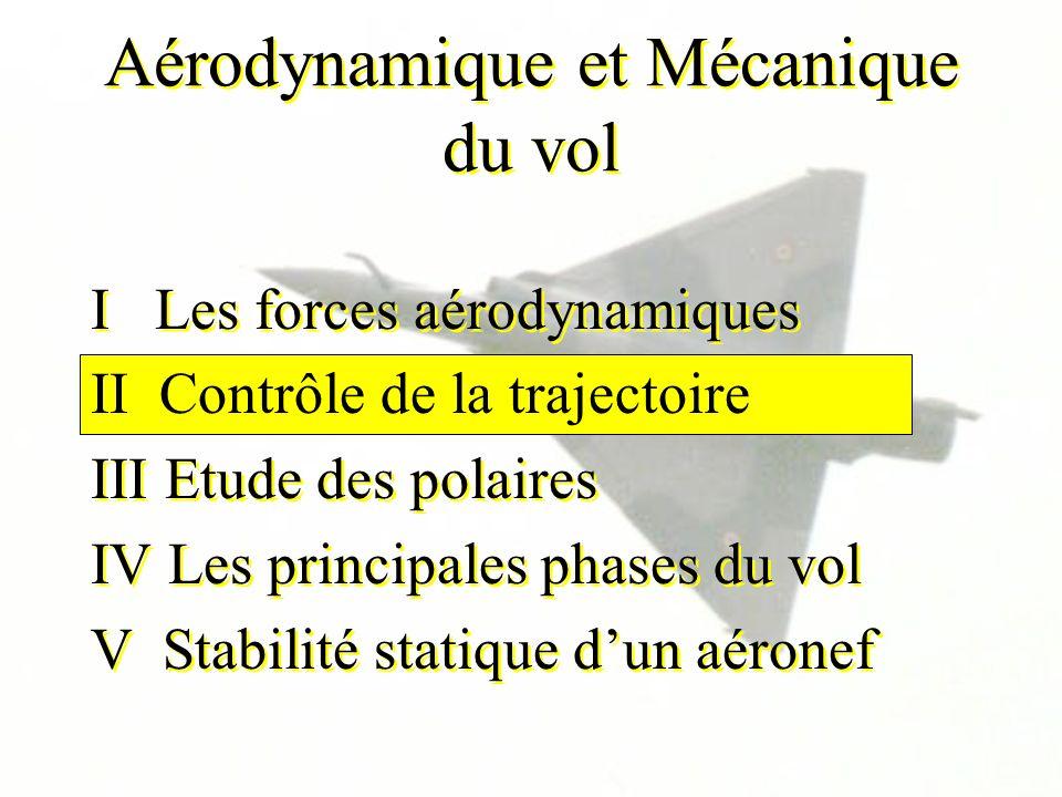 Aérodynamique et Mécanique du vol I Les forces aérodynamiques II Contrôle de la trajectoire III Etude des polaires IV Les principales phases du vol V