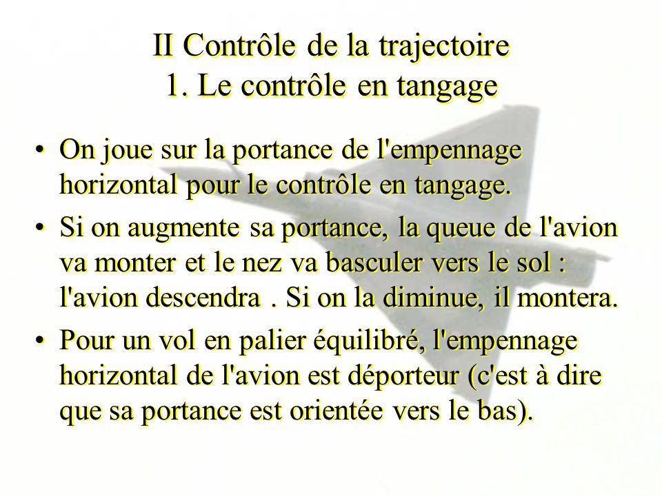 II Contrôle de la trajectoire 1. Le contrôle en tangage On joue sur la portance de l'empennage horizontal pour le contrôle en tangage. Si on augmente