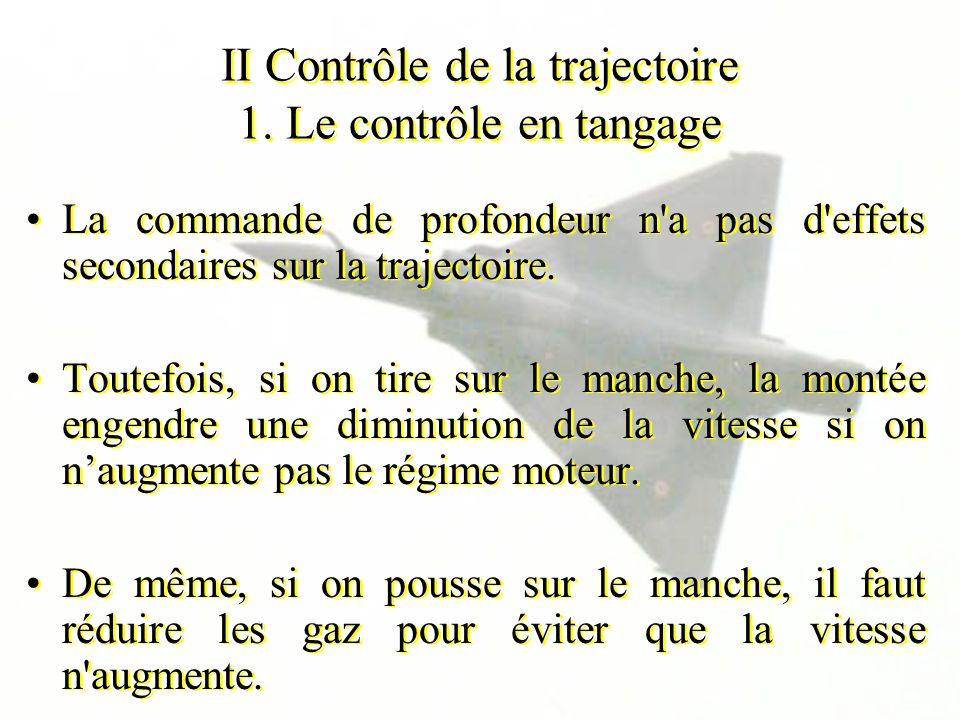 II Contrôle de la trajectoire 1. Le contrôle en tangage La commande de profondeur n'a pas d'effets secondaires sur la trajectoire. Toutefois, si on ti