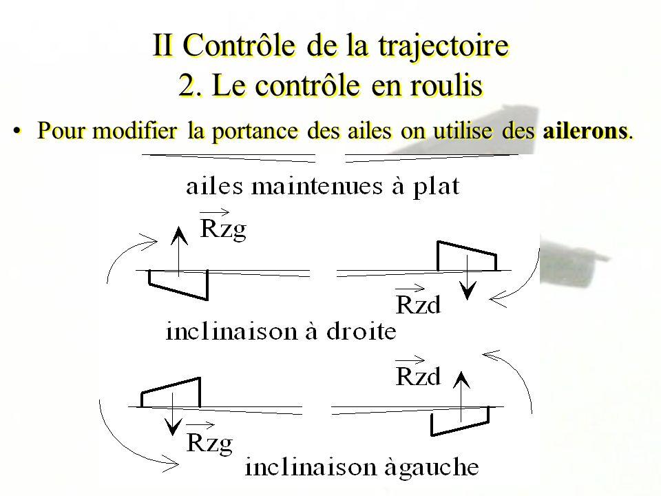 II Contrôle de la trajectoire 2. Le contrôle en roulis Pour modifier la portance des ailes on utilise des ailerons.