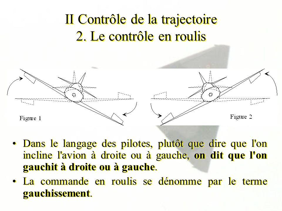 II Contrôle de la trajectoire 2. Le contrôle en roulis Dans le langage des pilotes, plutôt que dire que l'on incline l'avion à droite ou à gauche, on