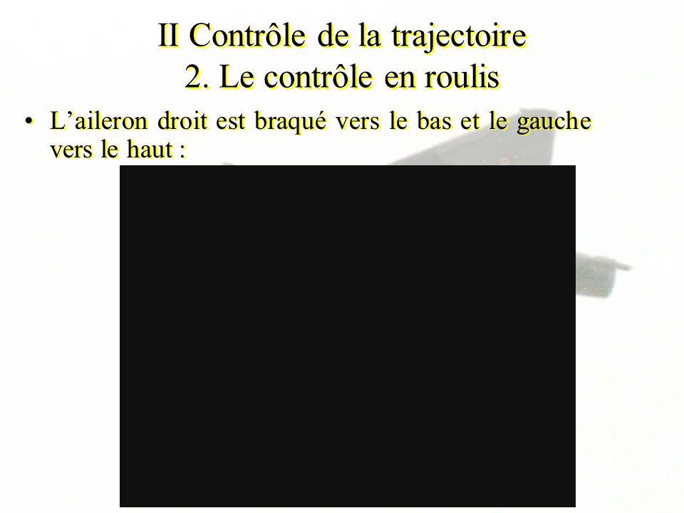 II Contrôle de la trajectoire 2. Le contrôle en roulis Laileron droit est braqué vers le bas et le gauche vers le haut :