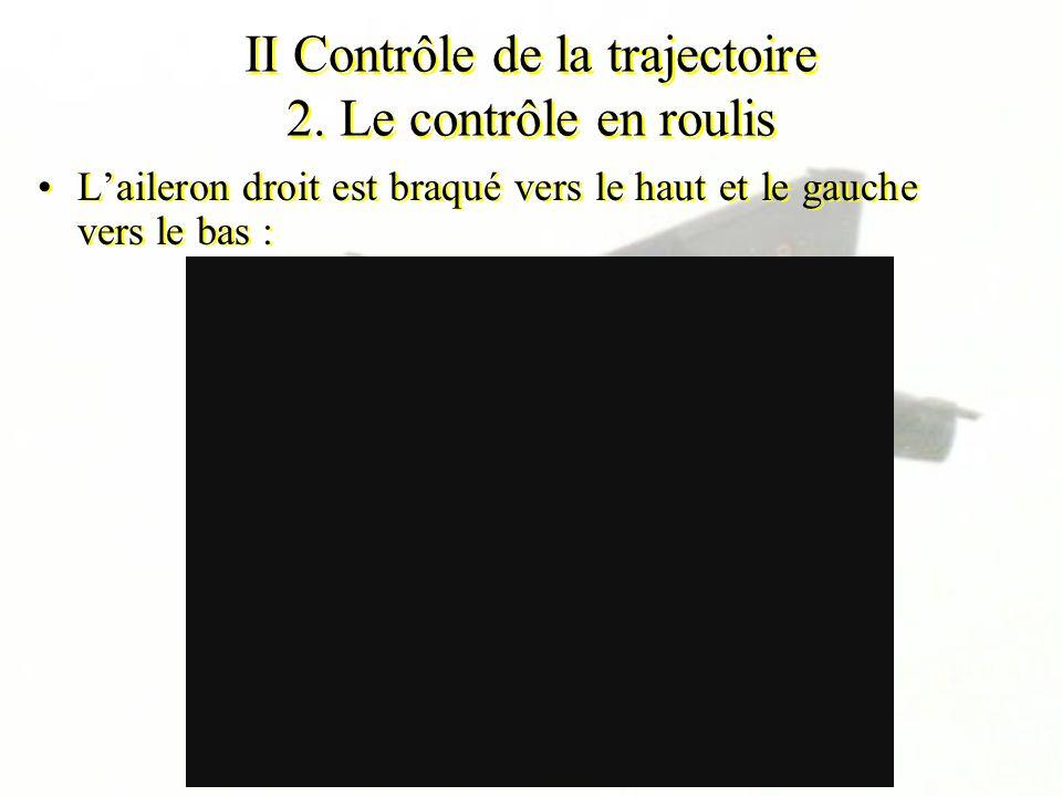 II Contrôle de la trajectoire 2. Le contrôle en roulis Laileron droit est braqué vers le haut et le gauche vers le bas :