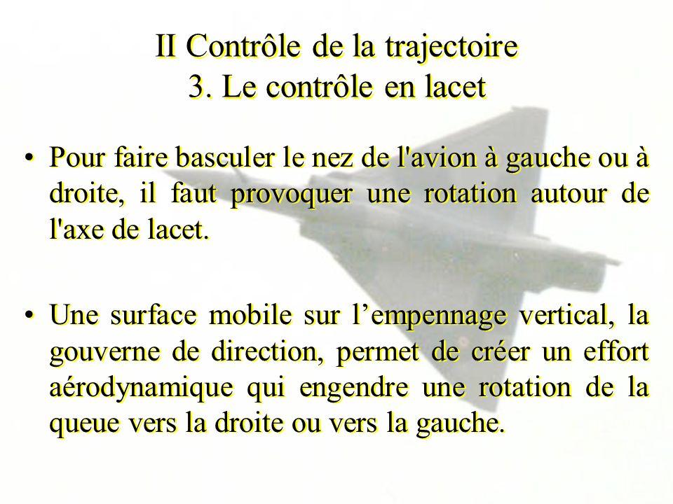 II Contrôle de la trajectoire 3. Le contrôle en lacet Pour faire basculer le nez de l'avion à gauche ou à droite, il faut provoquer une rotation autou