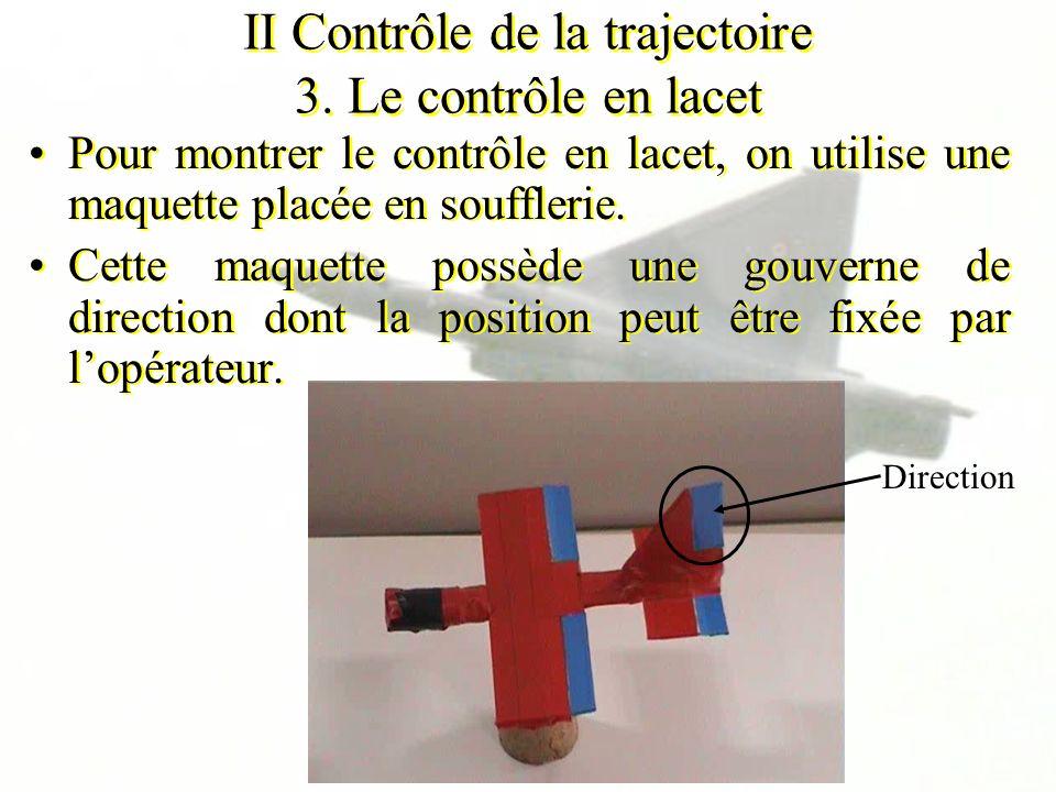 II Contrôle de la trajectoire 3. Le contrôle en lacet Pour montrer le contrôle en lacet, on utilise une maquette placée en soufflerie. Cette maquette