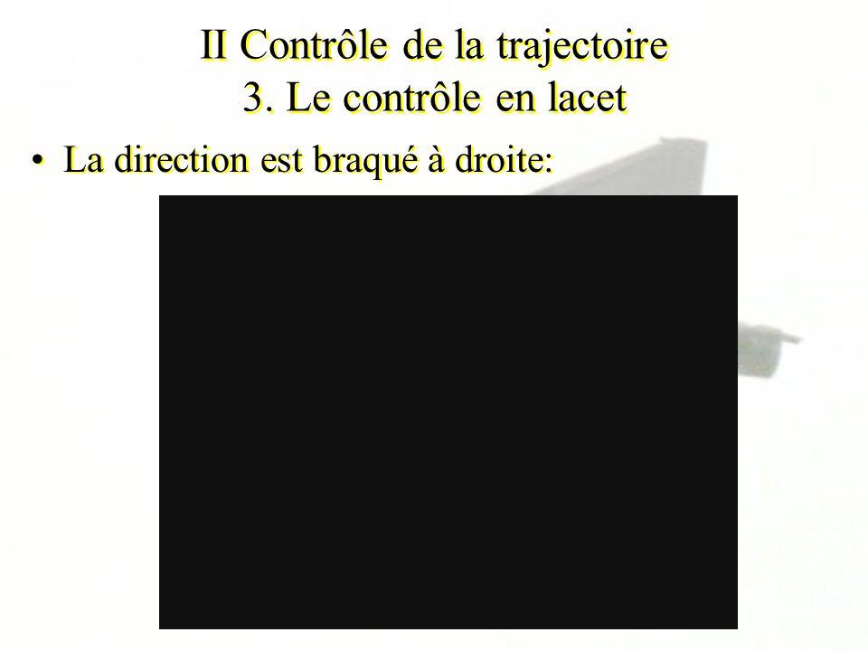 II Contrôle de la trajectoire 3. Le contrôle en lacet La direction est braqué à droite: