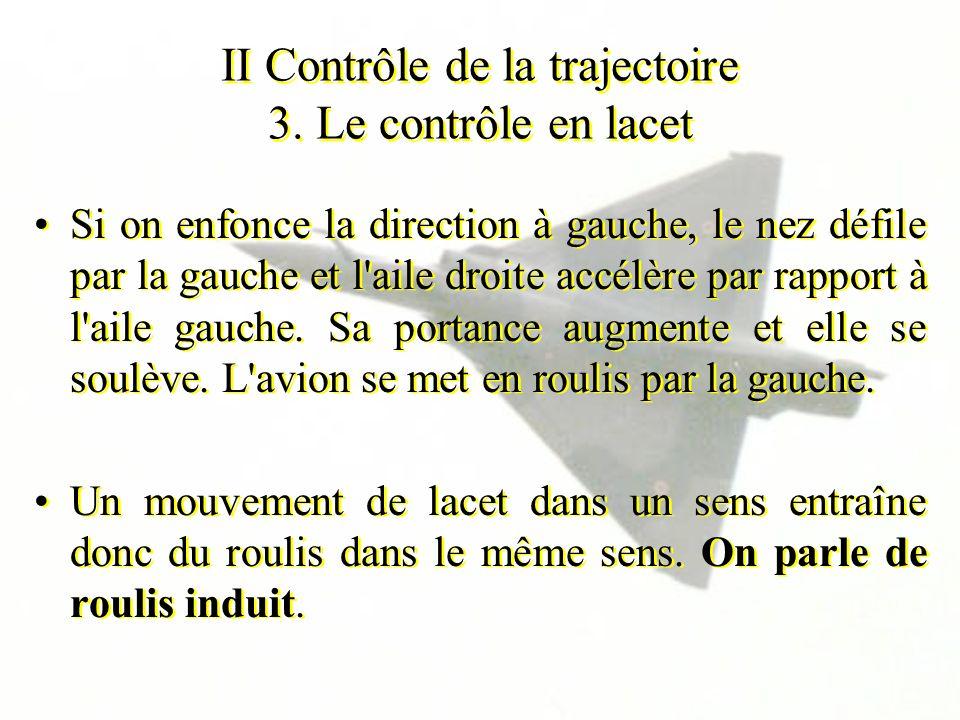 II Contrôle de la trajectoire 3. Le contrôle en lacet Si on enfonce la direction à gauche, le nez défile par la gauche et l'aile droite accélère par r