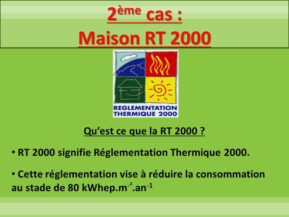 2 ème cas : Maison RT 2000 Quest ce que la RT 2000 ? RT 2000 signifie Réglementation Thermique 2000. Cette réglementation vise à réduire la consommati