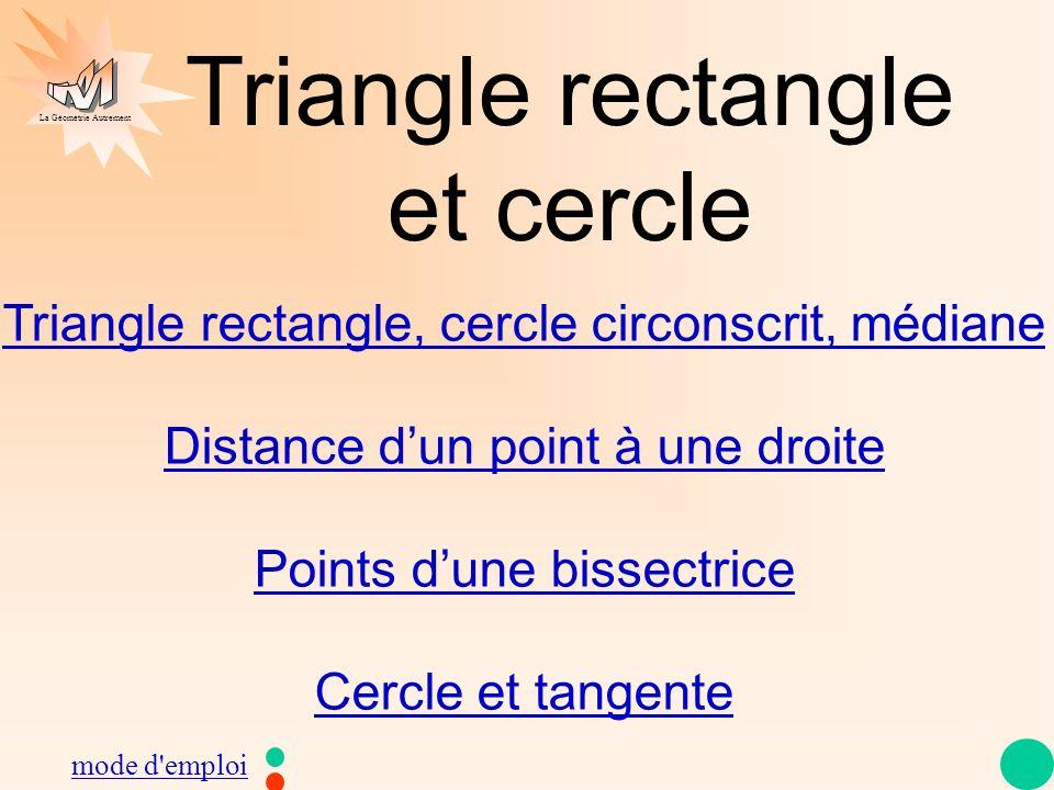 La Géométrie Autrement Triangle rectangle et cercle Triangle rectangle, cercle circonscrit, médiane Distance dun point à une droite Points dune bissec