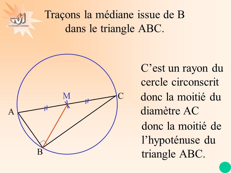 La Géométrie Autrement Traçons la médiane issue de B dans le triangle ABC. A C B M Cest un rayon du cercle circonscrit donc la moitié du diamètre AC d