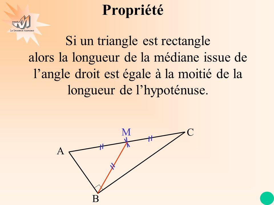 La Géométrie Autrement Propriété Si un triangle est rectangle alors la longueur de la médiane issue de langle droit est égale à la moitié de la longue