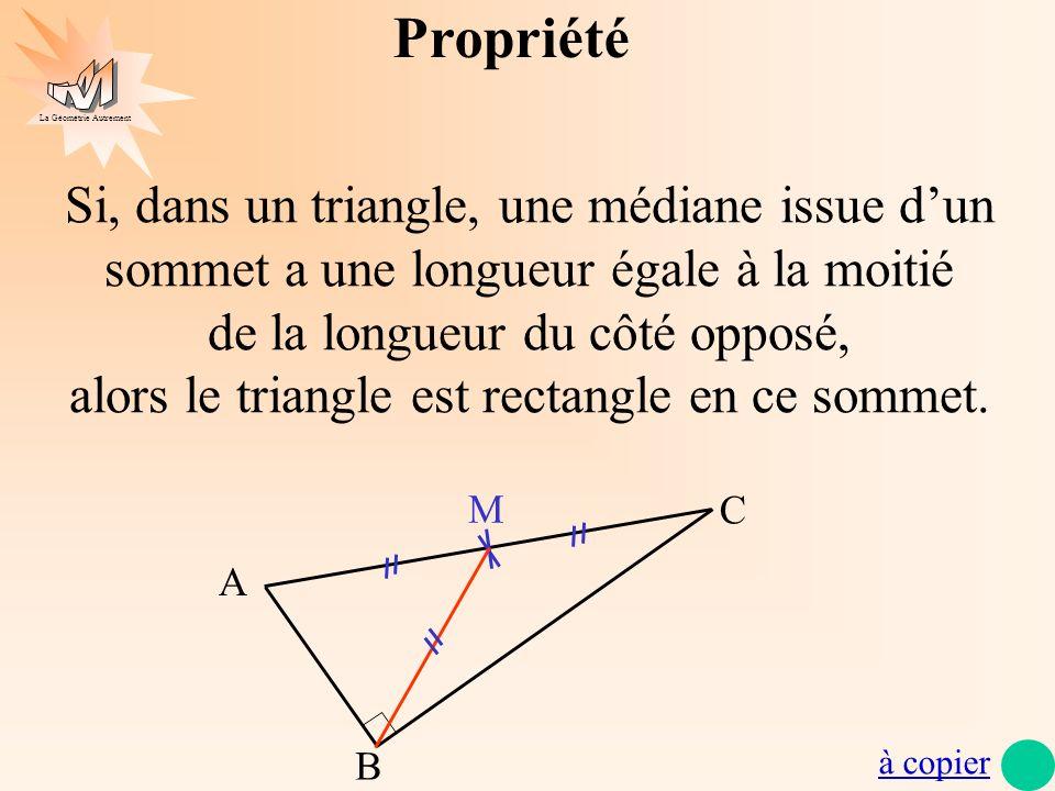 La Géométrie Autrement Propriété Si, dans un triangle, une médiane issue dun sommet a une longueur égale à la moitié de la longueur du côté opposé, al