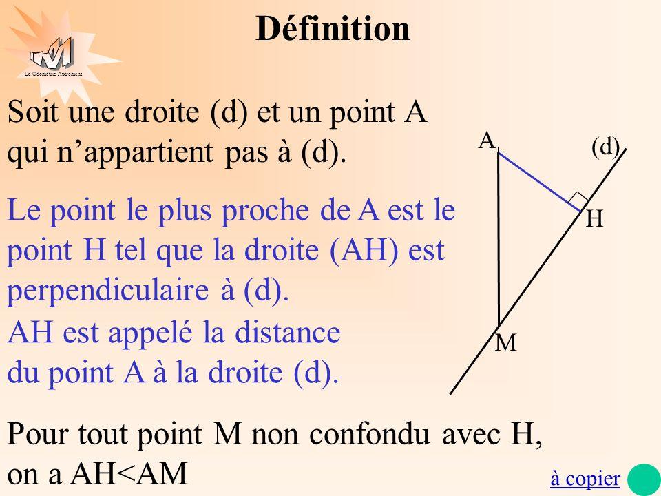 La Géométrie Autrement (d) A H M Définition Soit une droite (d) et un point A qui nappartient pas à (d). Le point le plus proche de A est le point H t