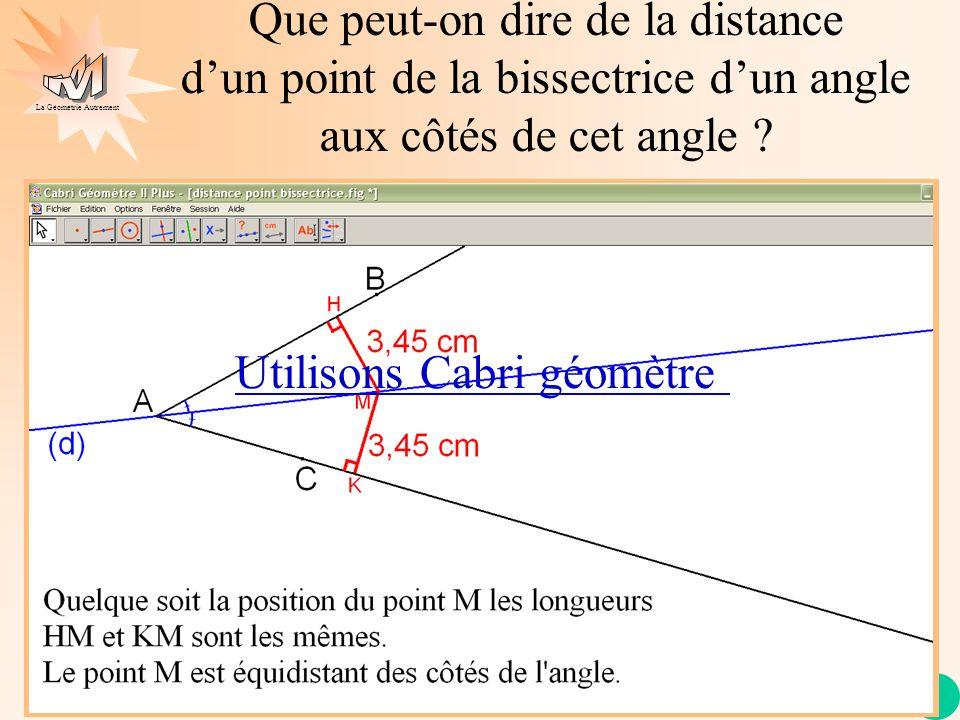 La Géométrie Autrement Que peut-on dire de la distance dun point de la bissectrice dun angle aux côtés de cet angle ? Utilisons Cabri géomètre
