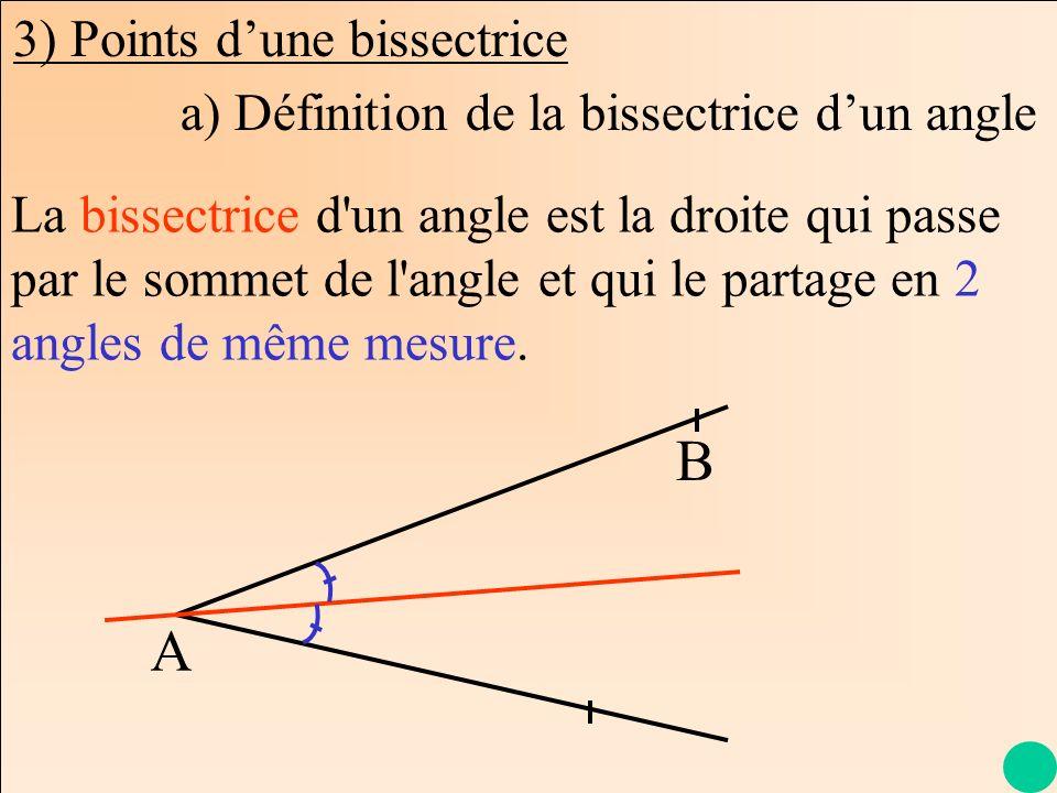 La Géométrie Autrement 3) Points dune bissectrice A B La bissectrice d'un angle est la droite qui passe par le sommet de l'angle et qui le partage en