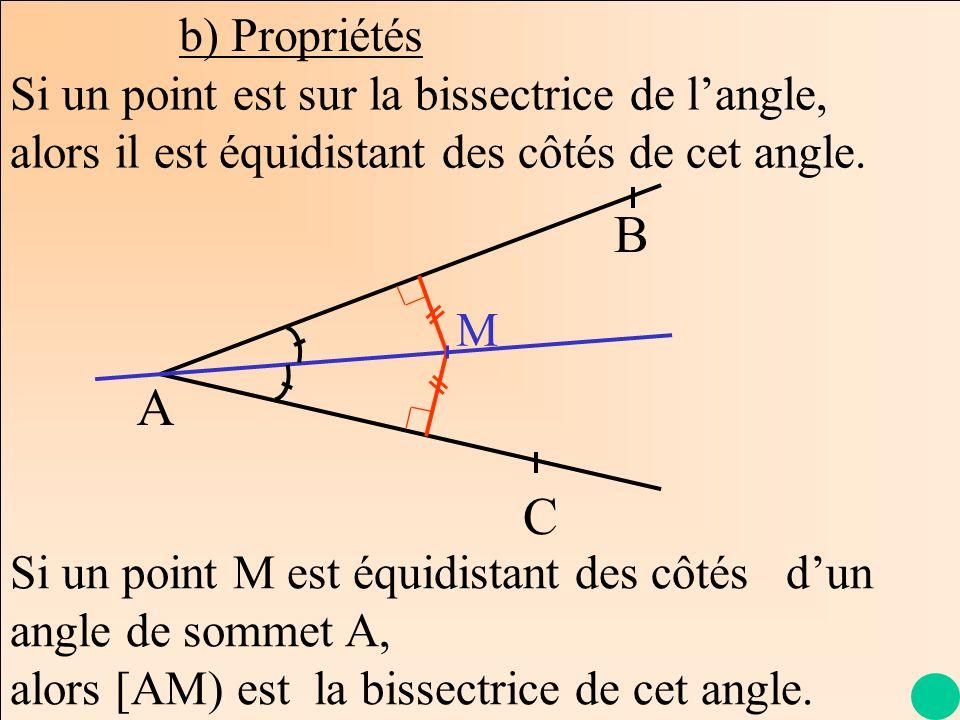 La Géométrie Autrement b) Propriétés A B C Si un point est sur la bissectrice de langle, alors il est équidistant des côtés de cet angle. M Si un poin