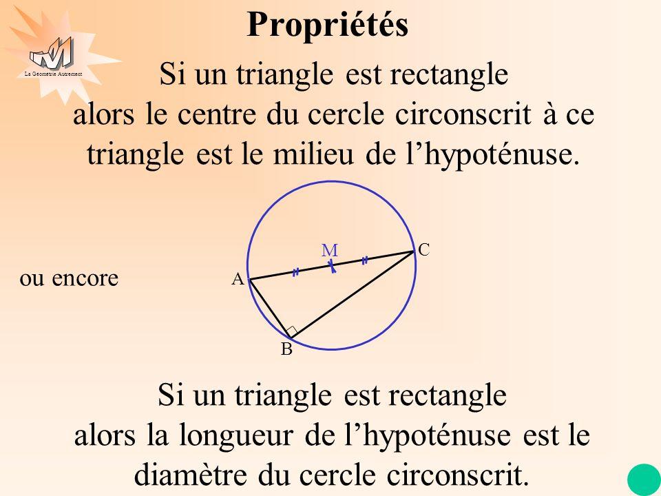 La Géométrie Autrement Propriétés Si un triangle est rectangle alors le centre du cercle circonscrit à ce triangle est le milieu de lhypoténuse. A C B