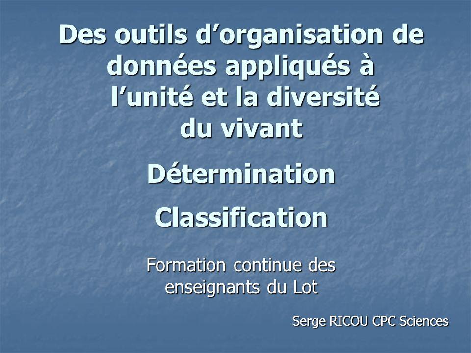 Des outils dorganisation de données appliqués à lunité et la diversité du vivant Détermination Classification Formation continue des enseignants du Lo