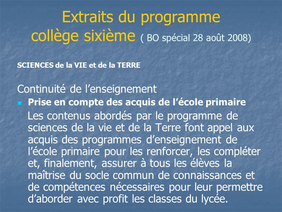 Extraits du programme collège sixième ( BO spécial 28 août 2008) Continuité de lenseignement Prise en compte des acquis de lécole primaire Les contenu