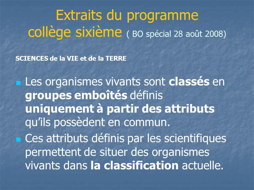 Extraits du programme collège sixième ( BO spécial 28 août 2008) Les organismes vivants sont classés en groupes emboîtés définis uniquement à partir d