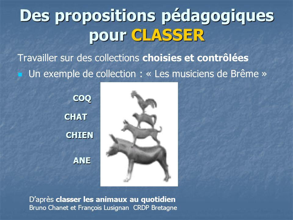 Des propositions pédagogiques pour CLASSER Travailler sur des collections choisies et contrôlées Un exemple de collection : « Les musiciens de Brême »
