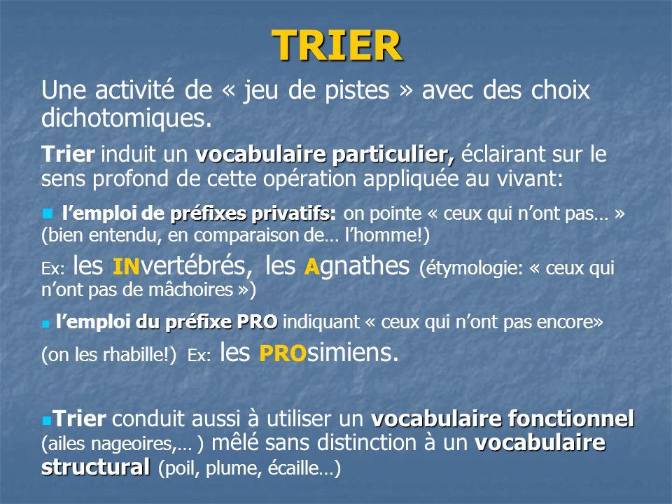 TRIER Une activité de « jeu de pistes » avec des choix dichotomiques. vocabulaire particulier, Trier induit un vocabulaire particulier, éclairant sur