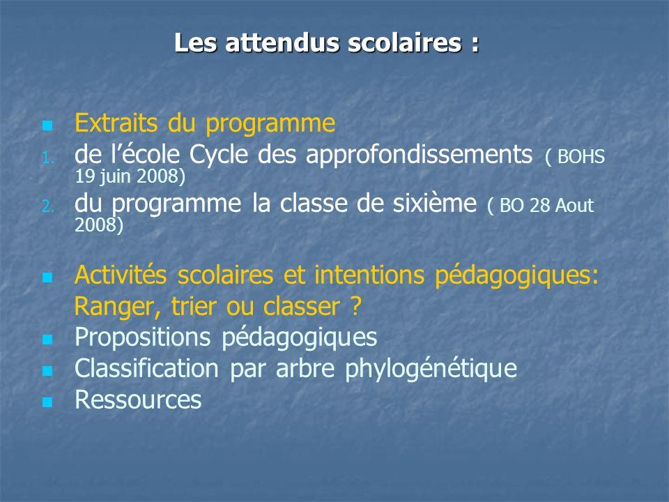 Les attendus scolaires : Extraits du programme 1. 1. de lécole Cycle des approfondissements ( BOHS 19 juin 2008) 2. 2. du programme la classe de sixiè