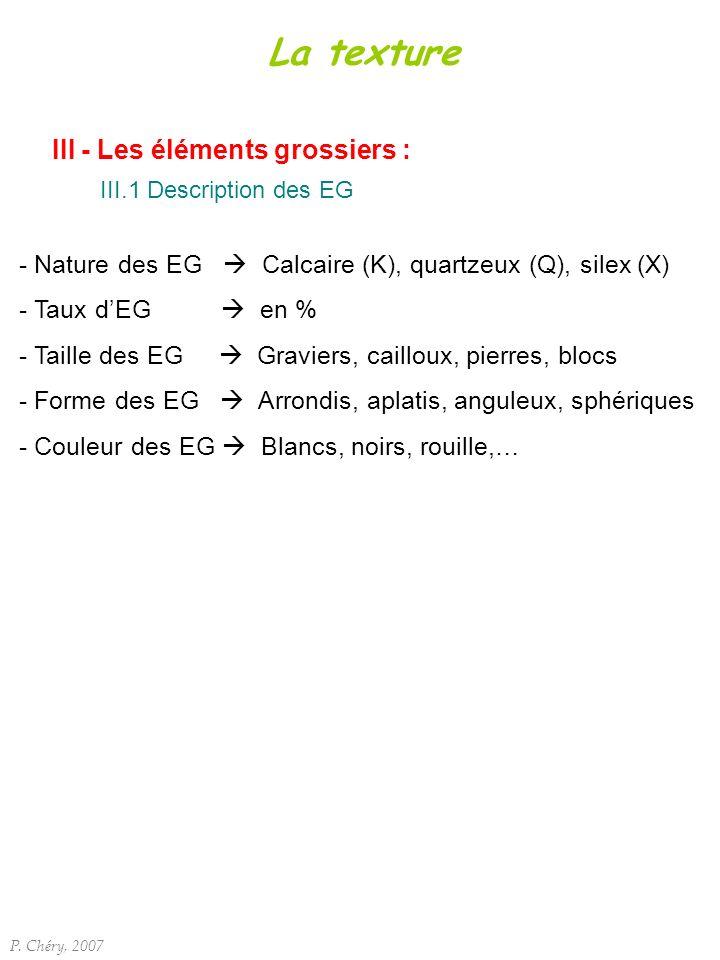 III - Les éléments grossiers : III.1 Description des EG P. Chéry, 2007 La texture - Nature des EG Calcaire (K), quartzeux (Q), silex (X) - Taux dEG en