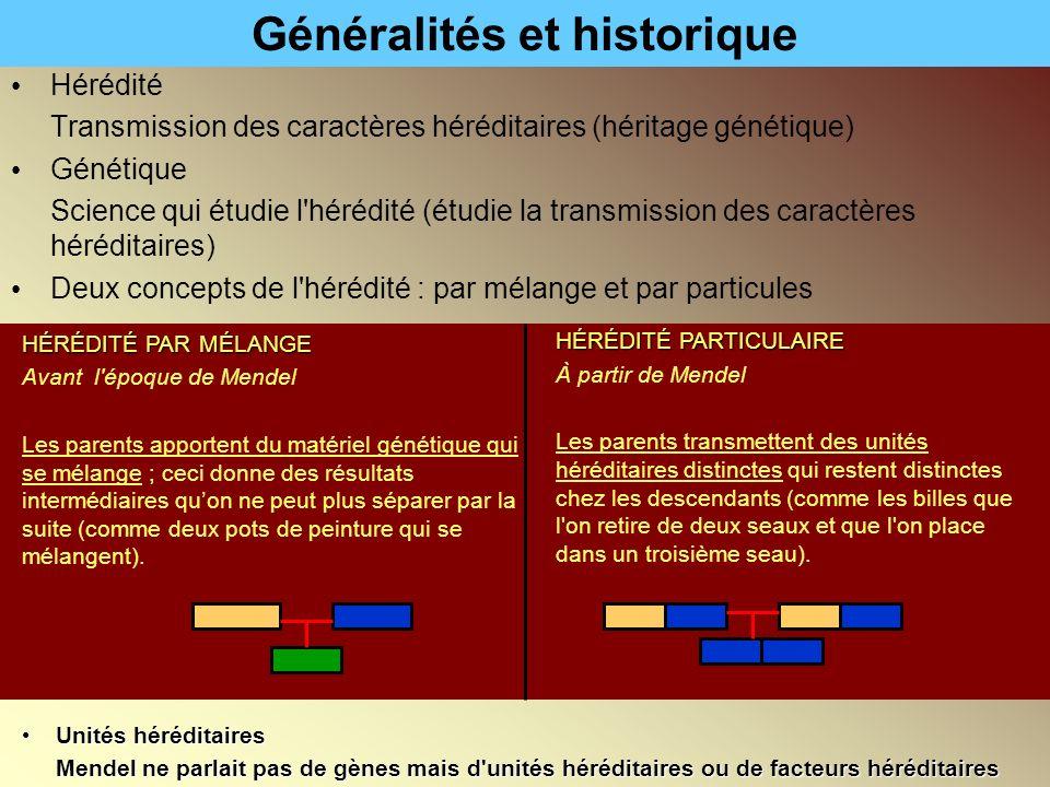Généralités et historique Hérédité Transmission des caractères héréditaires (héritage génétique) Génétique Science qui étudie l'hérédité (étudie la tr