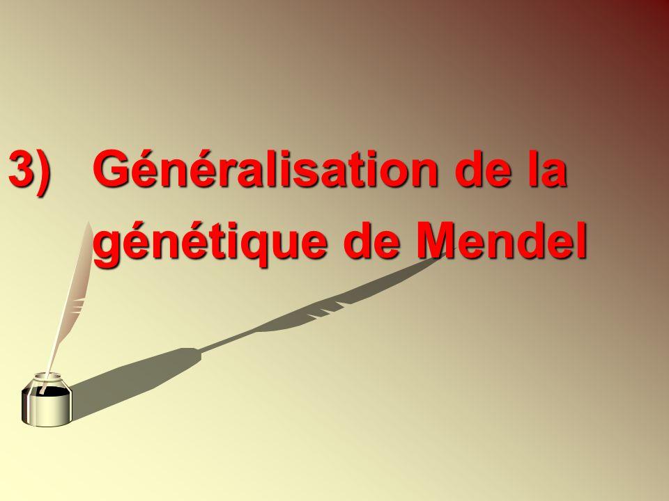 3)Généralisation de la génétique de Mendel