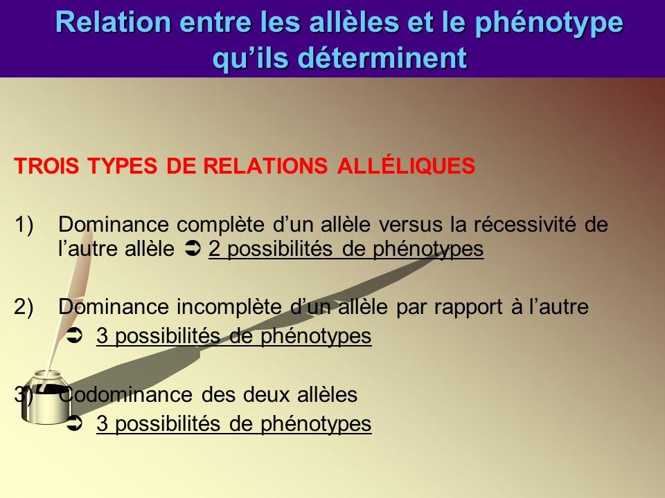 Relation entre les allèles et le phénotype quils déterminent TROIS TYPES DE RELATIONS ALLÉLIQUES 1)Dominance complète dun allèle versus la récessivité