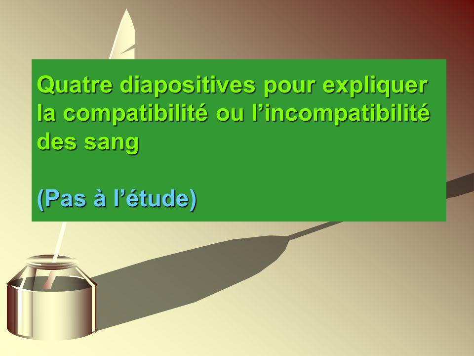 Quatre diapositives pour expliquer la compatibilité ou lincompatibilité des sang (Pas à létude)