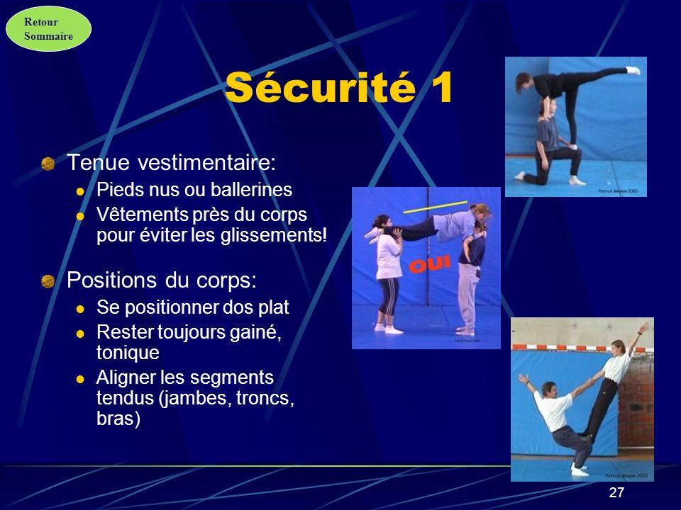 Retour Sommaire 28 Sécurité 2 Positions du corps (suite): Utiliser les jambes pour soulever Ne pas sappuyer au milieu du dos du partenaire