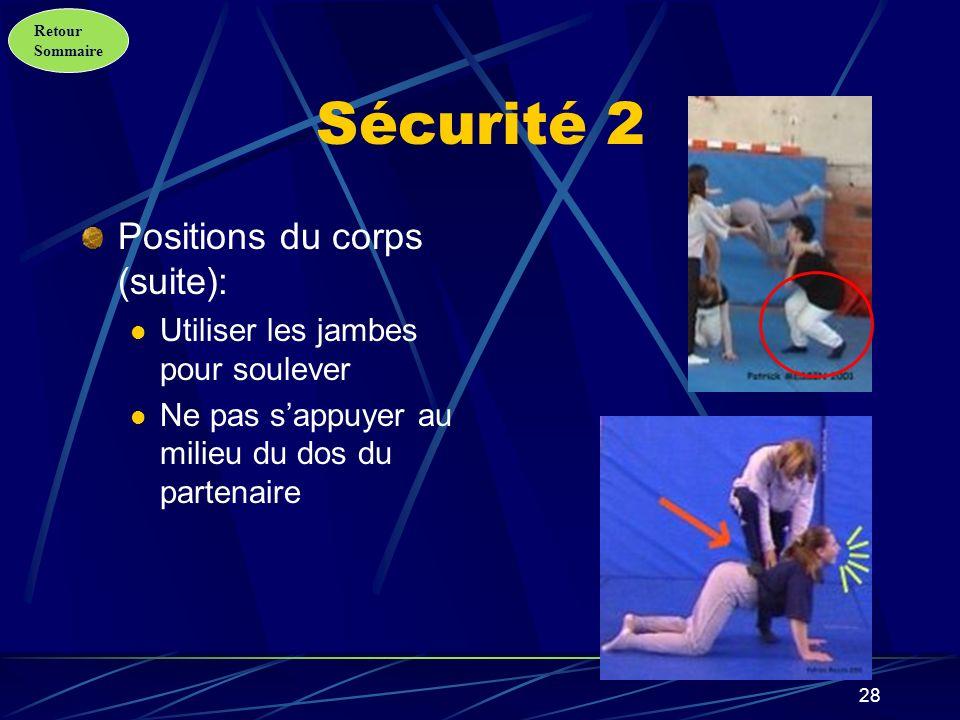 Retour Sommaire 29 Sécurité 3 Positions du corps (fin): Débuter lascension sur la base la plus solide.