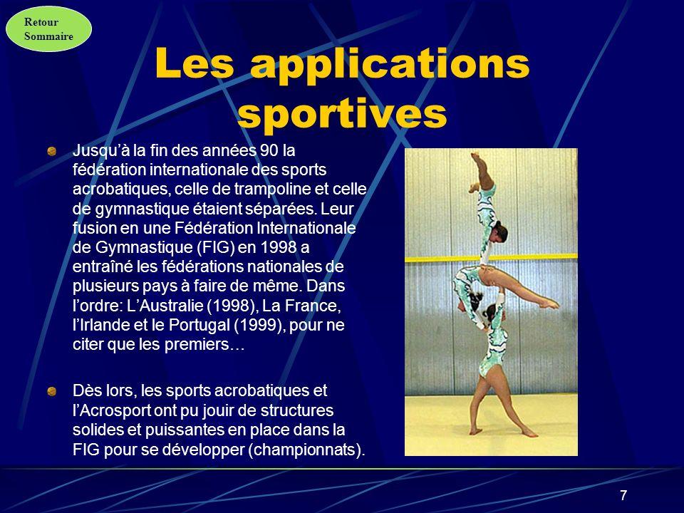 Retour Sommaire 8 Les applications scolaires Dès le milieu des années 90, la France sest fortement impliquée à développer lacrosport dans le domaine scolaire, à tel point quil a tendance aujourdhui à remplacer de plus en plus la gymnastique aux agrès.