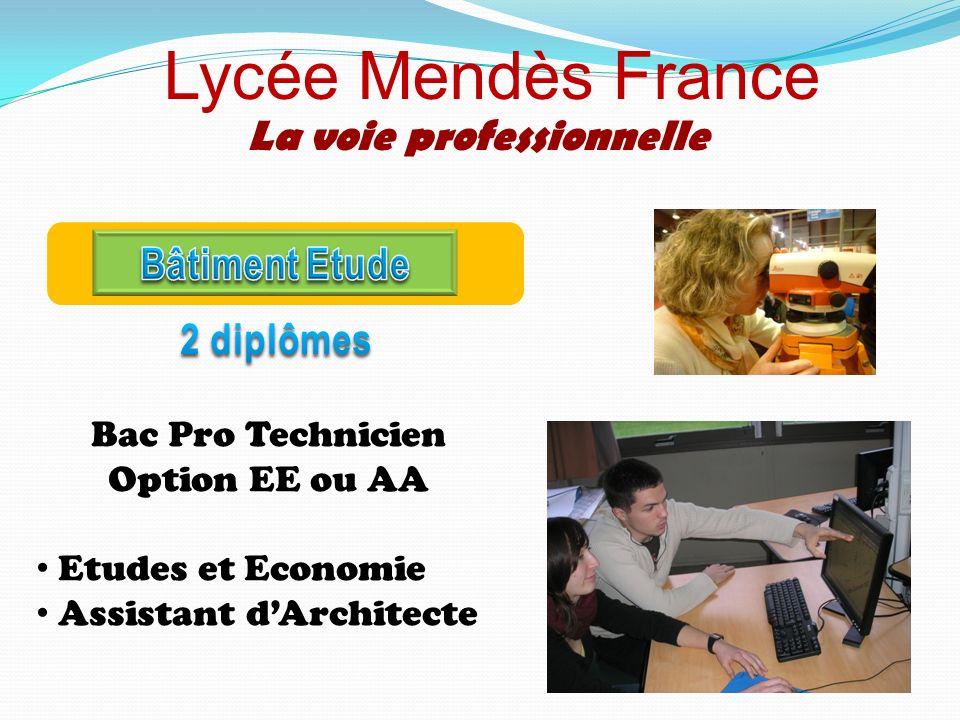 Lycée Mendès France La voie professionnelle Bac Pro Technicien Option EE ou AA Etudes et Economie Assistant dArchitecte
