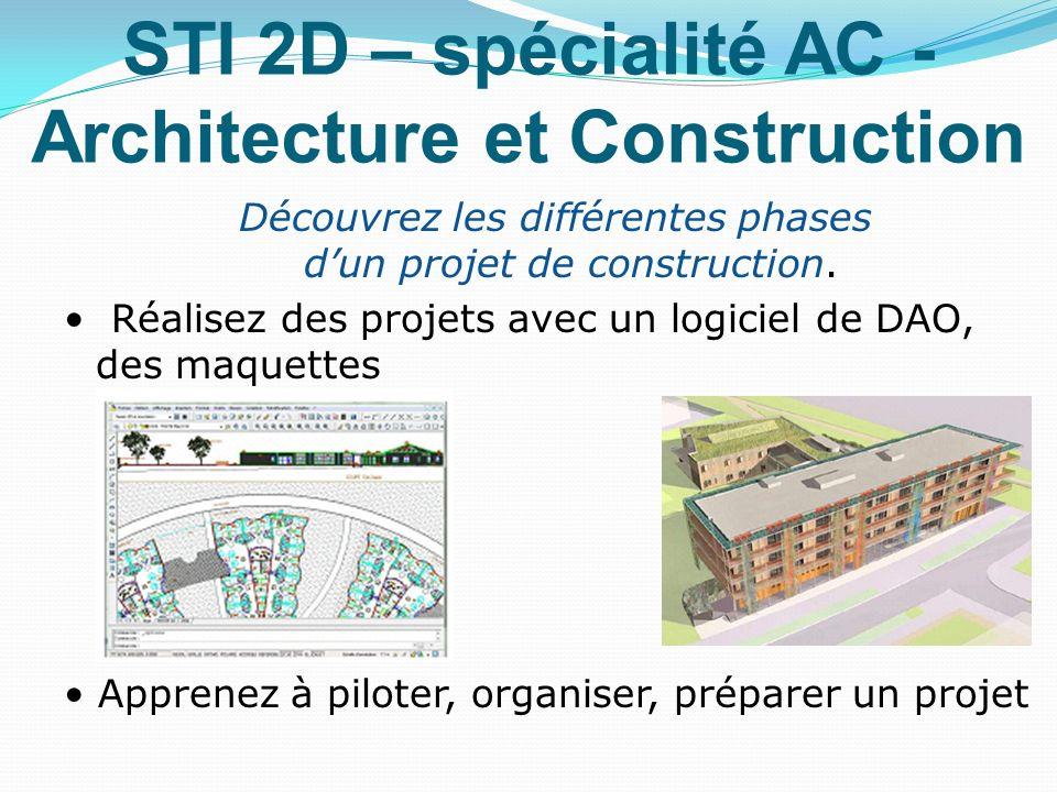 STI 2D – spécialité AC - Architecture et Construction Découvrez les différentes phases dun projet de construction. Réalisez des projets avec un logici