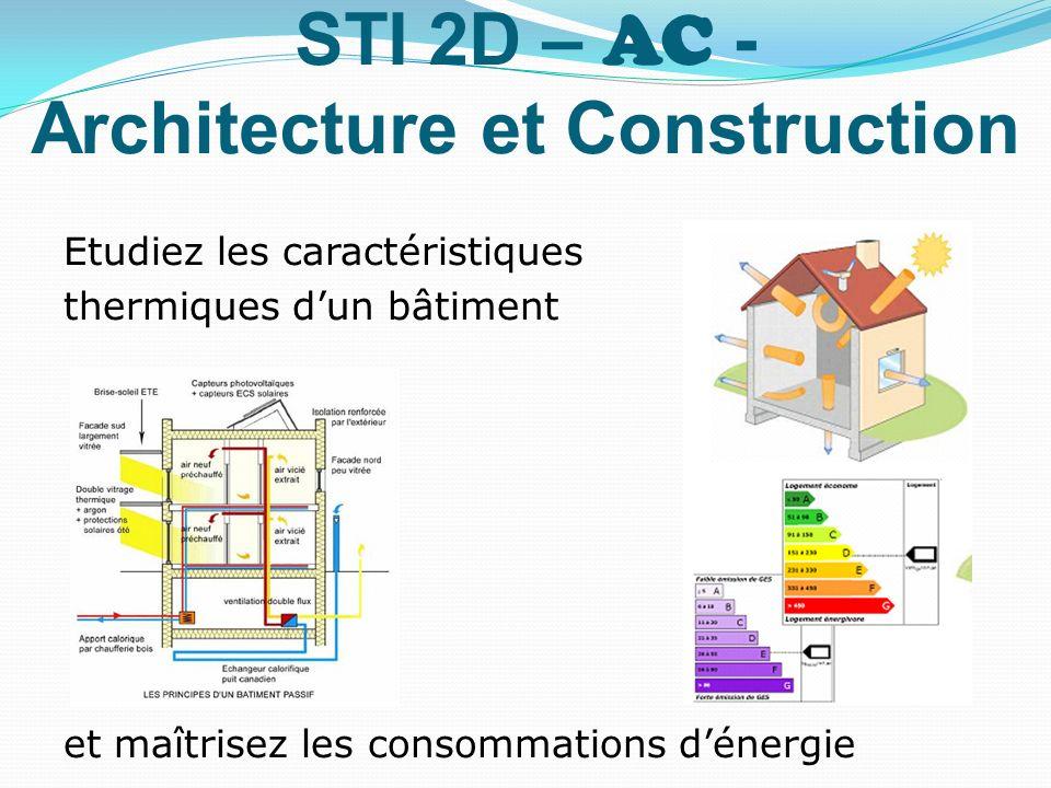 STI 2D – AC - Architecture et Construction Etudiez les caractéristiques thermiques dun bâtiment et maîtrisez les consommations dénergie