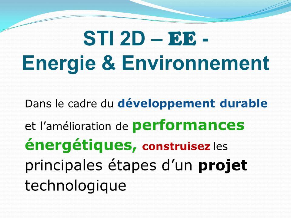 STI 2D – EE - Energie & Environnement Dans le cadre du développement durable et l amélioration de performances énergétiques, construisez les principal