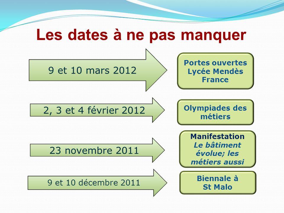 Les dates à ne pas manquer 9 et 10 mars 2012 Portes ouvertes Lycée Mendès France Olympiades des métiers 2, 3 et 4 février 2012 Manifestation Le bâtime