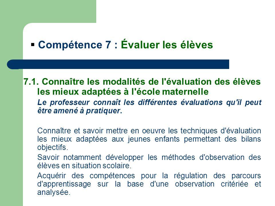 2.Pour lenfant : outil dapprentissage Rappel de la compétence 7 : évaluer les élèves 7.3.