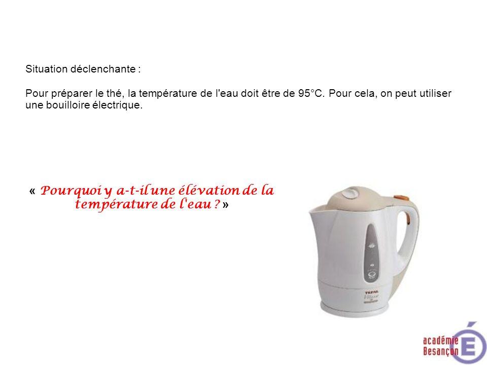 Situation déclenchante : Pour préparer le thé, la température de l'eau doit être de 95°C. Pour cela, on peut utiliser une bouilloire électrique. « Pou