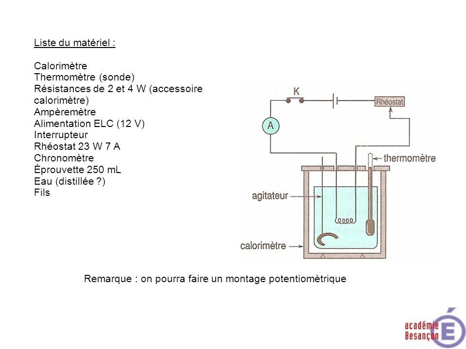 Liste du matériel : Calorimètre Thermomètre (sonde) Résistances de 2 et 4 W (accessoire calorimètre) Ampèremètre Alimentation ELC (12 V) Interrupteur
