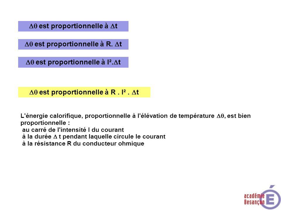 est proportionnelle à R. t est proportionnelle à t est proportionnelle à R. I². t L'énergie calorifique, proportionnelle à l'élévation de température,