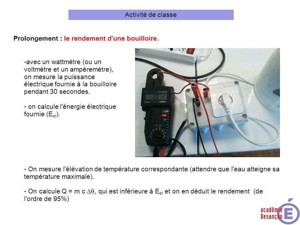 Prolongement : le rendement d'une bouilloire. -avec un wattmètre (ou un voltmètre et un ampèremètre), on mesure la puissance électrique fournie à la b