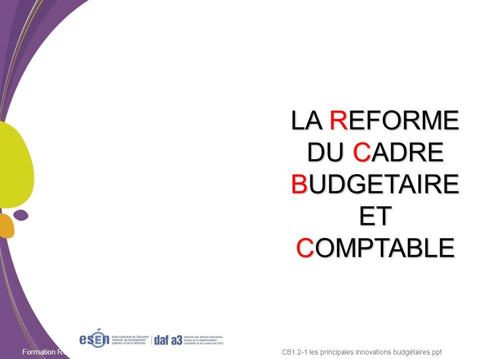 Formation RCBC DAF/Esen - octobre 2011 LA REFORME DU CADRE BUDGETAIRE ET COMPTABLE CB1.2-1 les principales innovations budgétaires.ppt