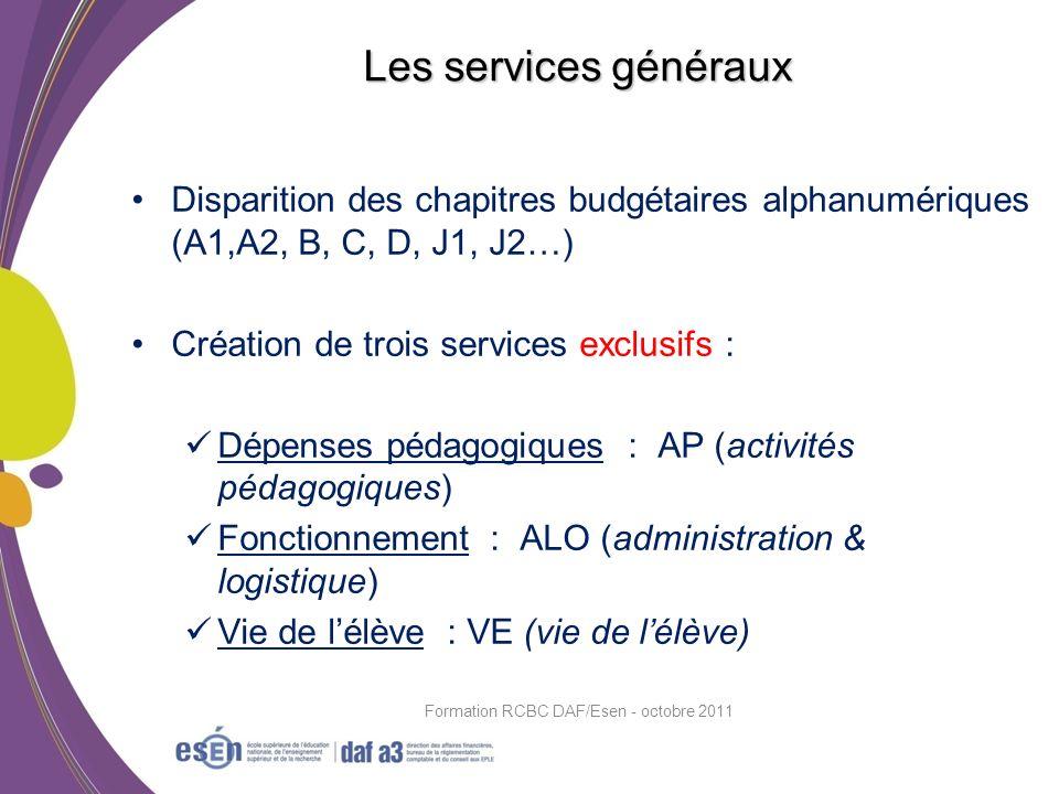 Disparition des chapitres budgétaires alphanumériques (A1,A2, B, C, D, J1, J2…) Création de trois services exclusifs : Dépenses pédagogiques : AP (act